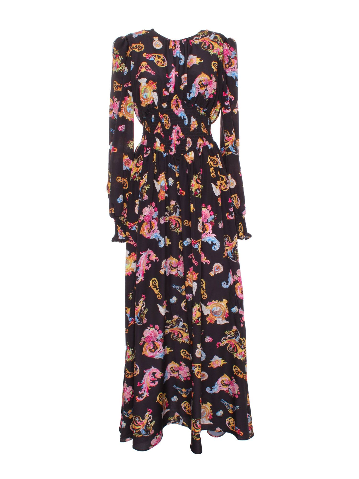 Versace Jeans Couture Maxi dresses ROCOCO PRINTED LONG DRESS IN BLACK