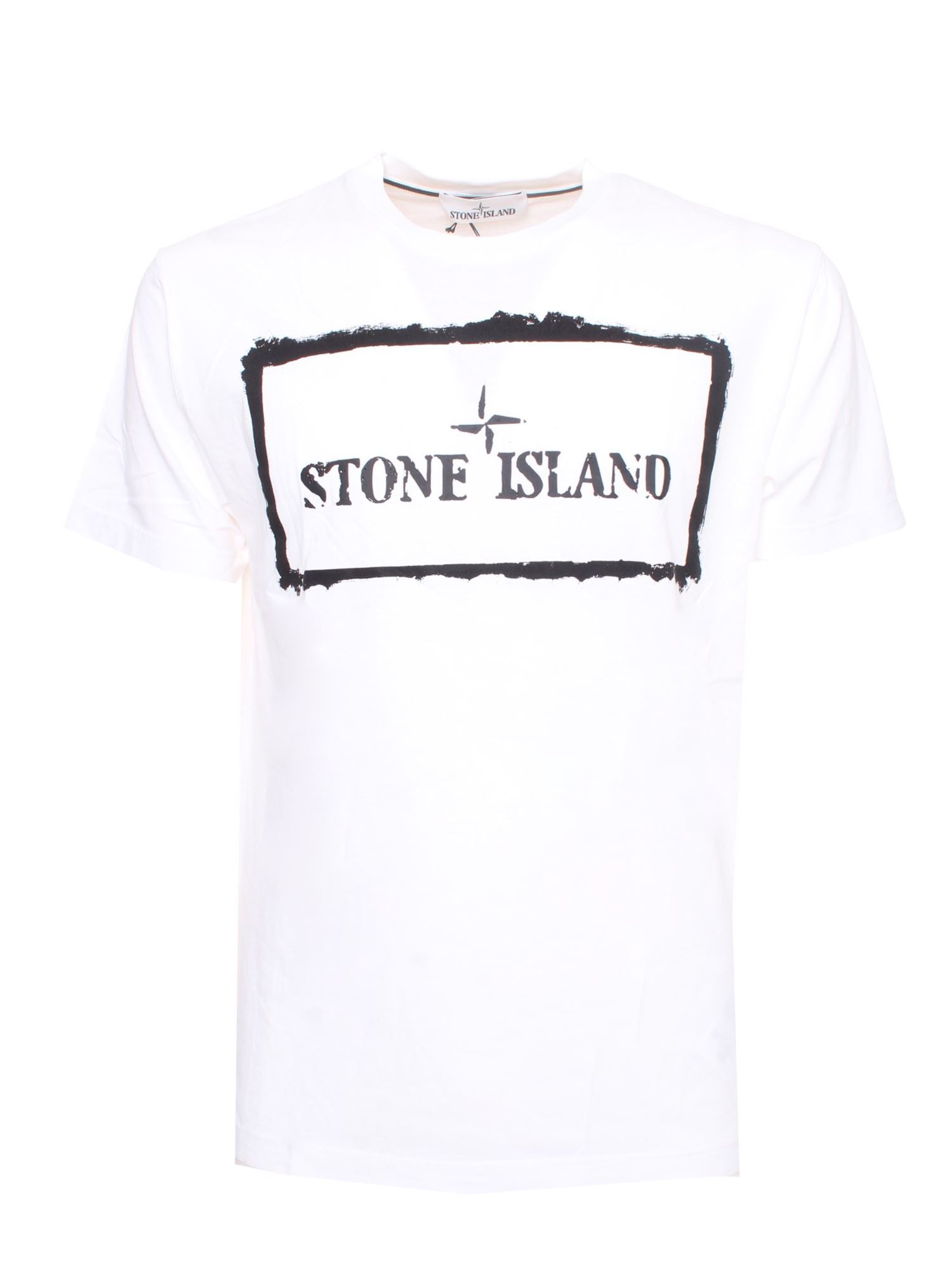 Stone Island Cottons LOGO PRINTED T-SHIRT IN BLACK AND WHITE