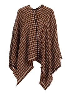 Fendi - Houndstooth poncho in brown