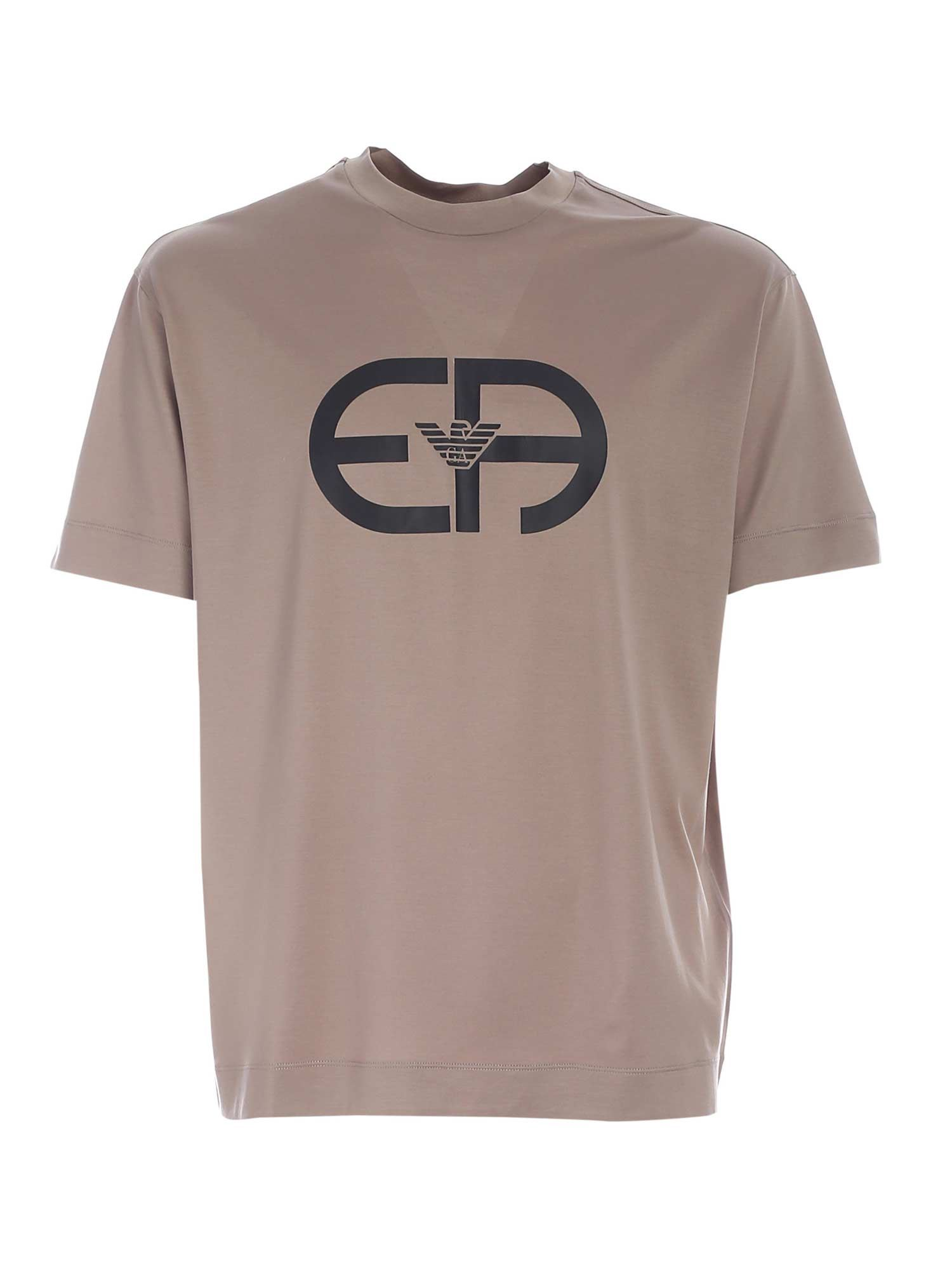Emporio Armani Cottons LOGO PRINT T-SHIRT IN BROWN