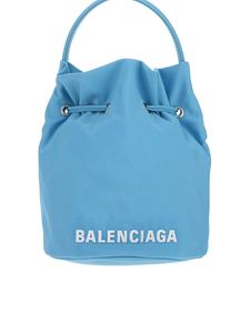 Balenciaga - Extrasmall recycled nylon Wheel satchel in light blue