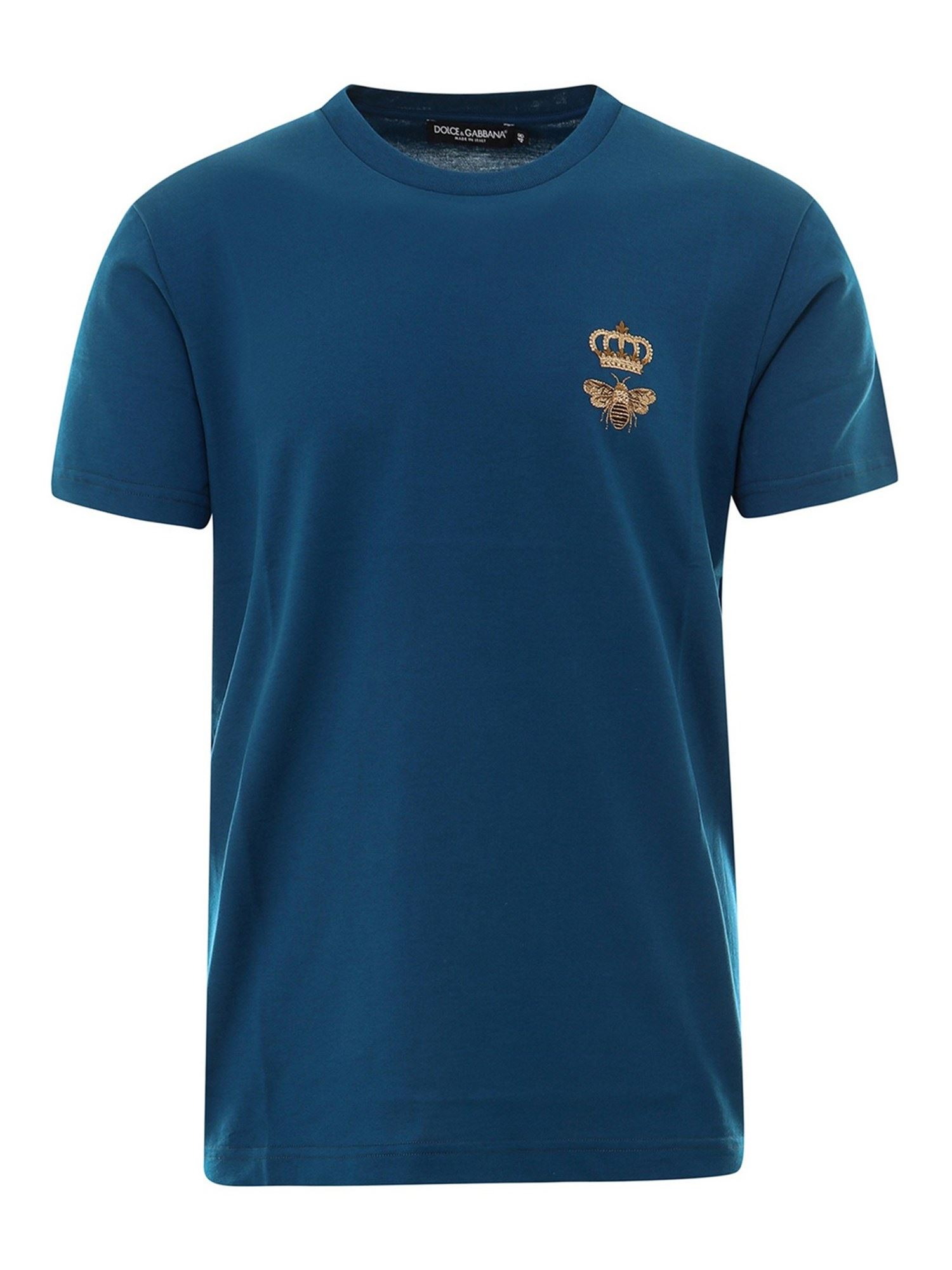Dolce & Gabbana T-shirts EMBROIDERED T-SHIRT IN BLUE