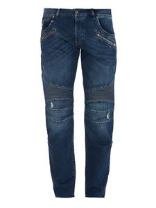 Balmain - Embroidery detailed five-pocket jeans in blue