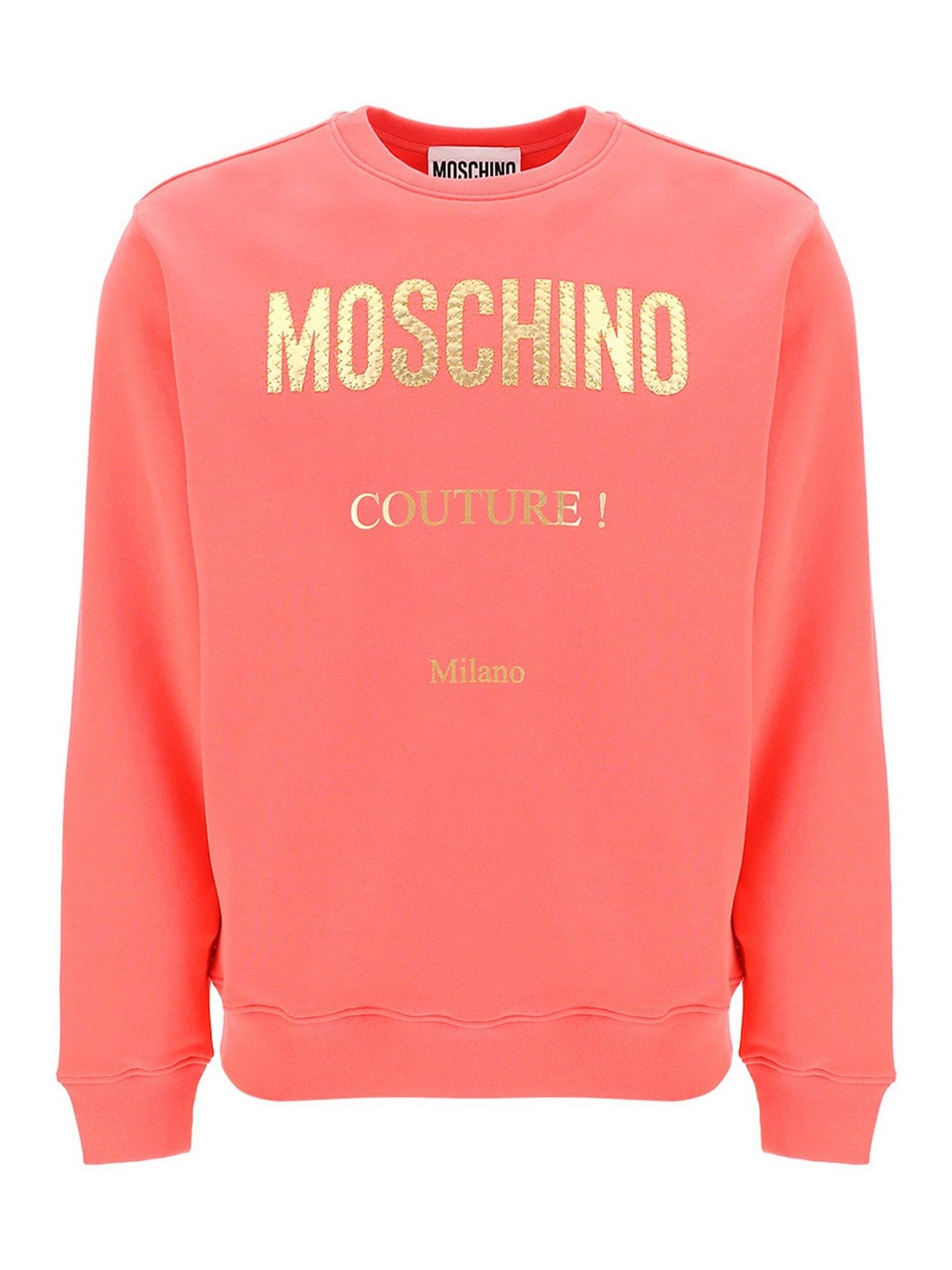 Moschino LAMINATED LOGO SWEATSHIRT IN LIGHT RED