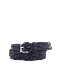 Orciani - Woven leather belt in blue