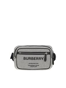 Burberry - Cotton belt bag with logo in grey