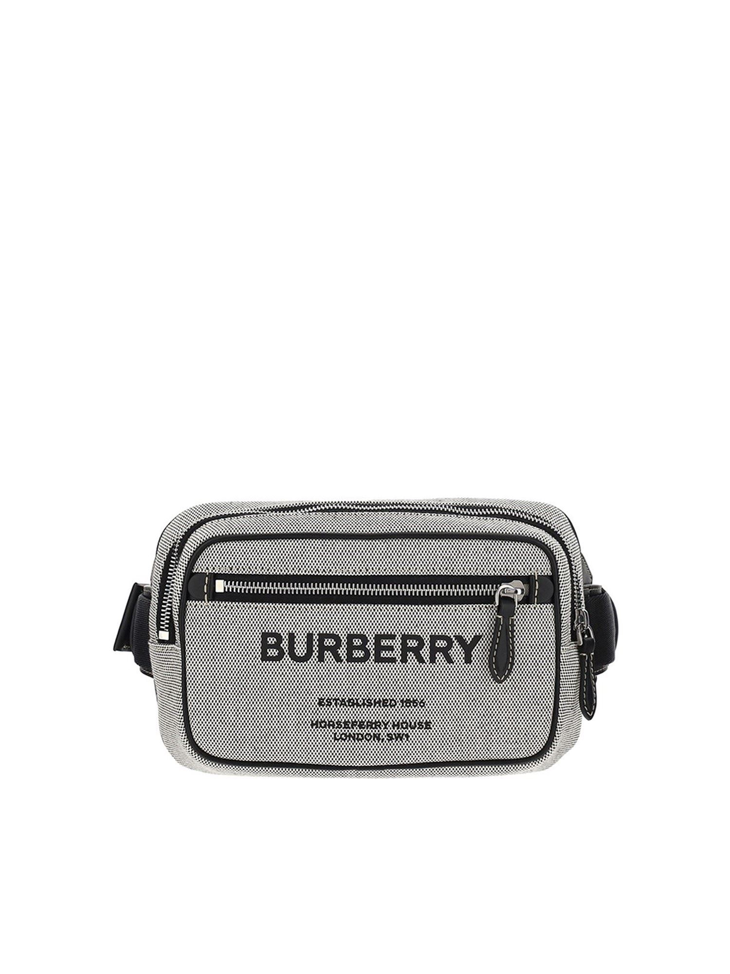 BURBERRY COTTON BELT BAG WITH LOGO IN GREY