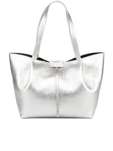 Patrizia Pepe - Laminated leather City tote bag in silver color