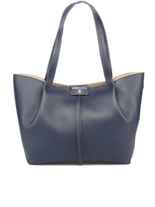 Patrizia Pepe - Grainy leather City tote bag in blue