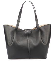 Patrizia Pepe - Grainy leather City tote bag in black