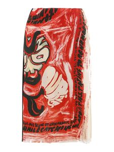 Marni - High waist wrap skirt in red and black