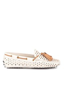 Tod's - Drilled loafers in white and camel