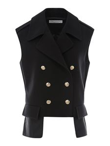Philosophy di Lorenzo Serafini - Cotton double-breasted gilet in black