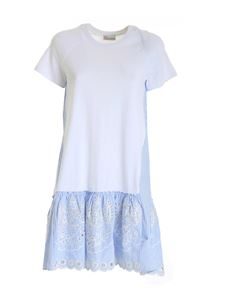 Red Valentino - Flounce broderie anglaise dress in white and blue
