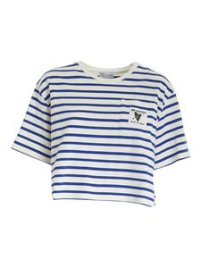 Red Valentino - Striped crop T-shirt in white and blue