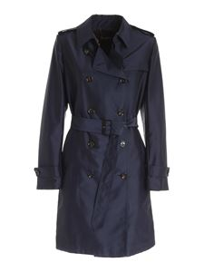 Moorer - Double-breasted trench coat in dark blue