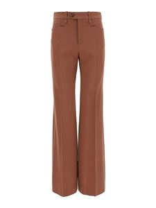 Chloé - Wool grain de poudre palazzo trousers in brown