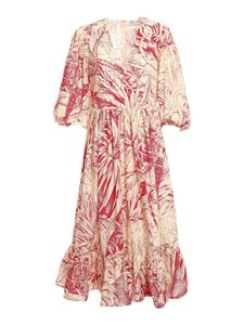 Red Valentino - Jungle Toile printed dress in ivory and red
