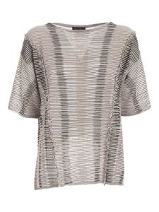 Paolo Fiorillo - Lamé details T-shirt in black white and beige