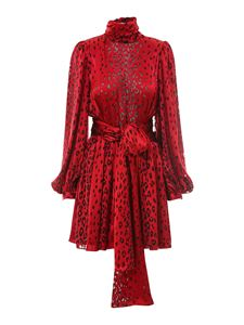 Saint Laurent - Animal print silk blend dress in red