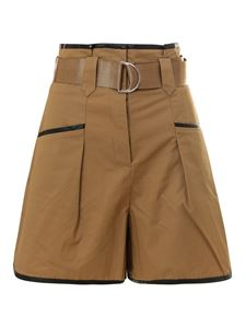 Self-Portrait - Cotton high waisted shorts in camel color
