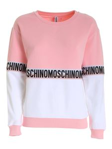Moschino - Logoed bands sweatshirt in pink and white