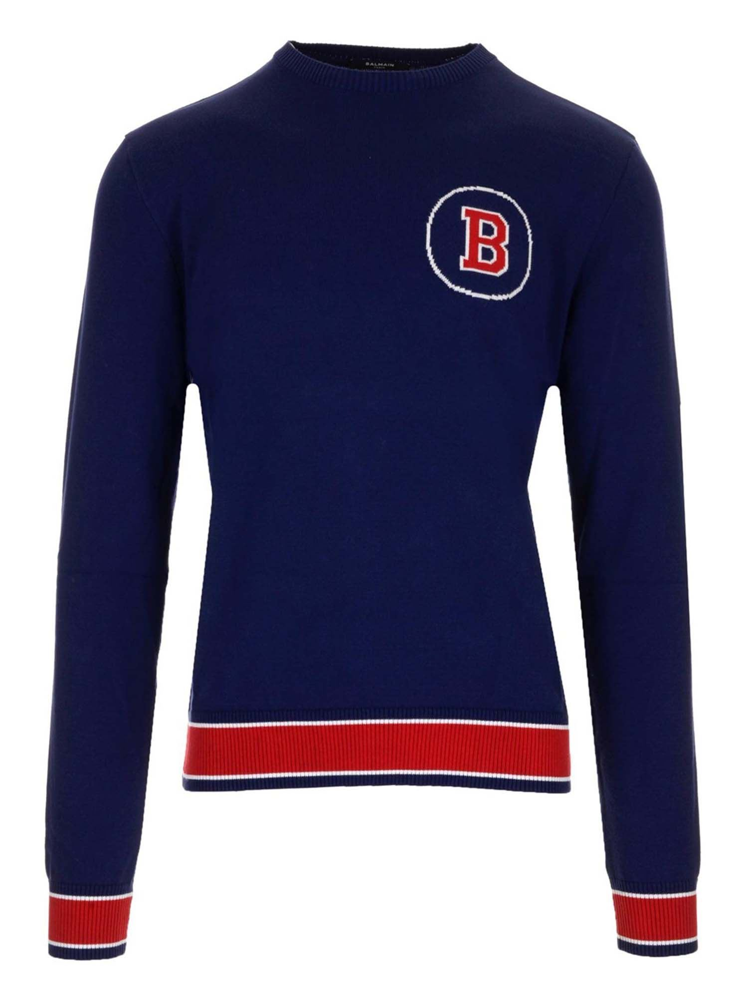 Balmain COLLEGE STYLE SWEATER IN BLUE