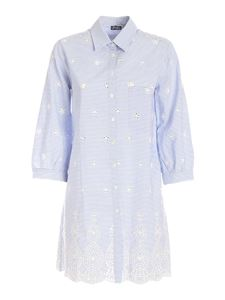 MC2 Saint Barth - Striped long shirt in light blue and white