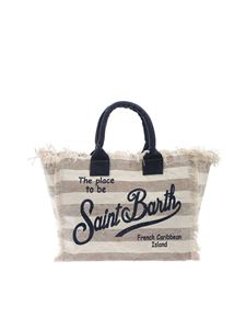 MC2 Saint Barth - Striped print bag in beige and blue