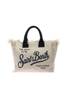 MC2 Saint Barth - Logo print bag in beige and blue