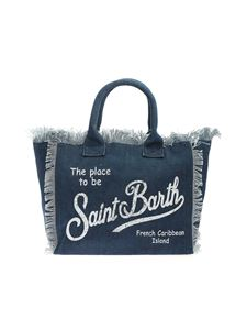 MC2 Saint Barth - Logo print denim effect bag in blue