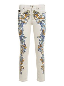 Versace Jeans Couture - Baroque print skinny jeans in white