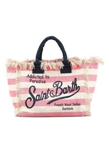 MC2 Saint Barth - Vanity striped cotton beach bag in pink