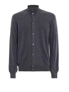 Paolo Fiorillo - Combed wool mock neck cardigan in grey