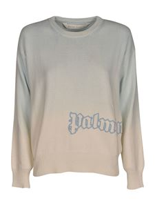 Palm Angels - Dipdye sweater in light blue and white