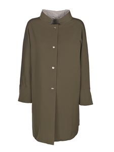 Herno - Reversible trench coat in green and grey