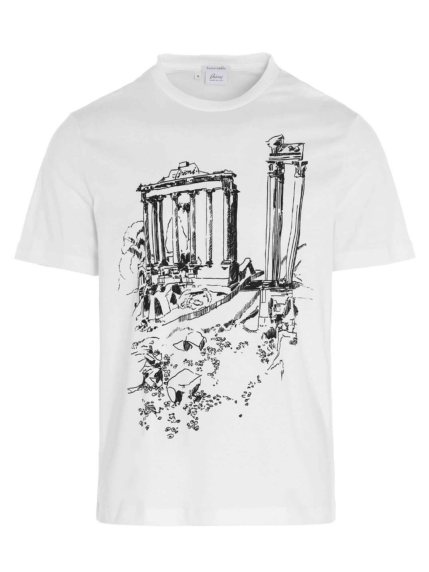 Brioni Cottons ANCIENT ROME PRINT T-SHIRT IN WHITE