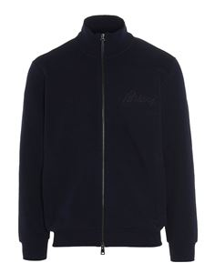 Brioni - Logo cardigan embroidered in blue