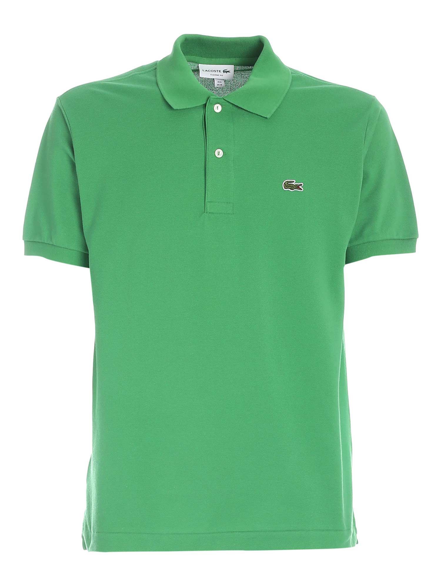 Lacoste Cottons LOGO PATCH POLO SHIRT IN GREEN