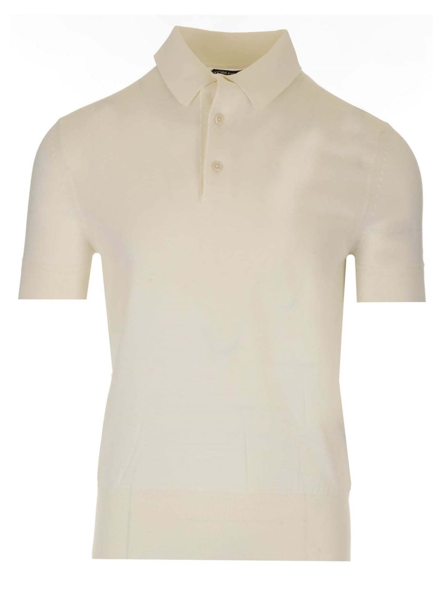 Tom Ford Cottons JERSEY POLO SHIRT IN WHITE