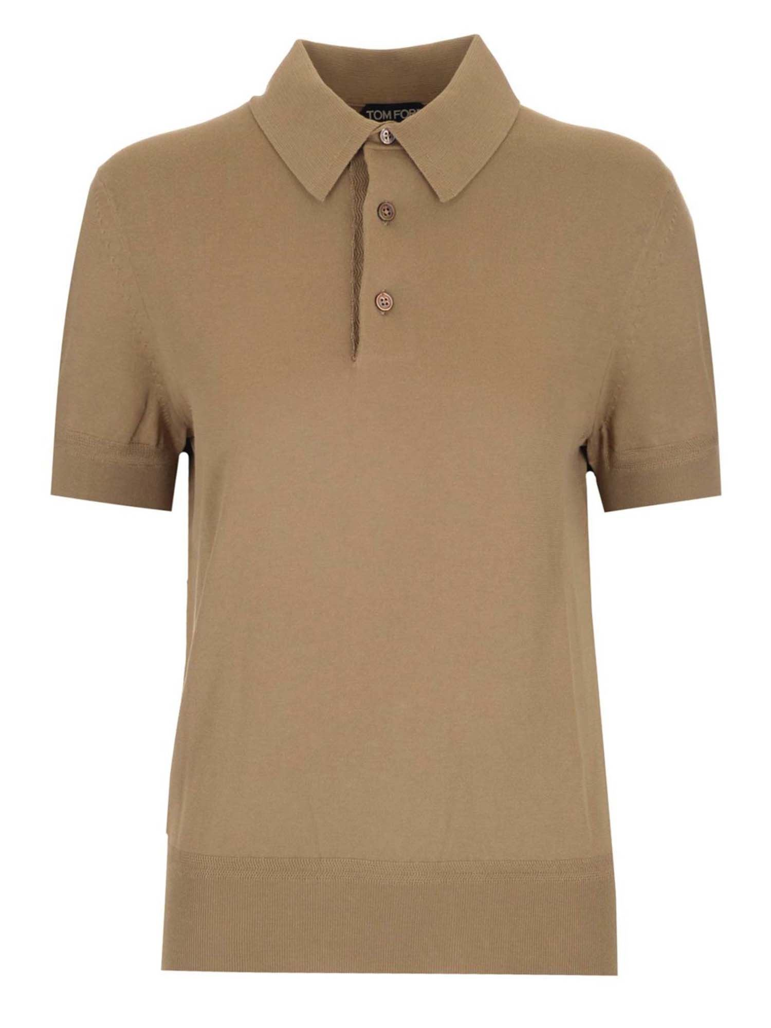 Tom Ford Cottons JERSEY POLO SHIRT IN BEIGE