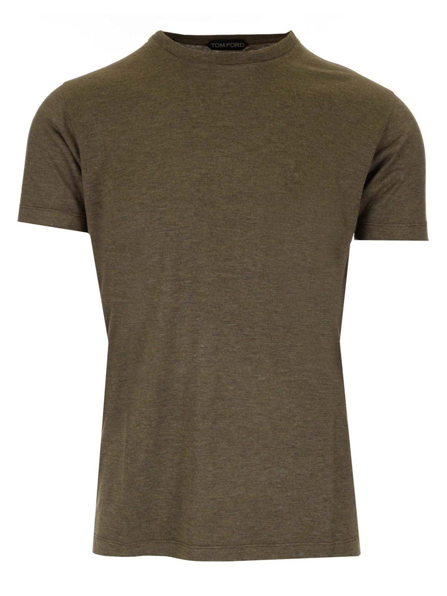 Tom Ford T-shirts CREWNECK T-SHIRT IN ARMY GREEN