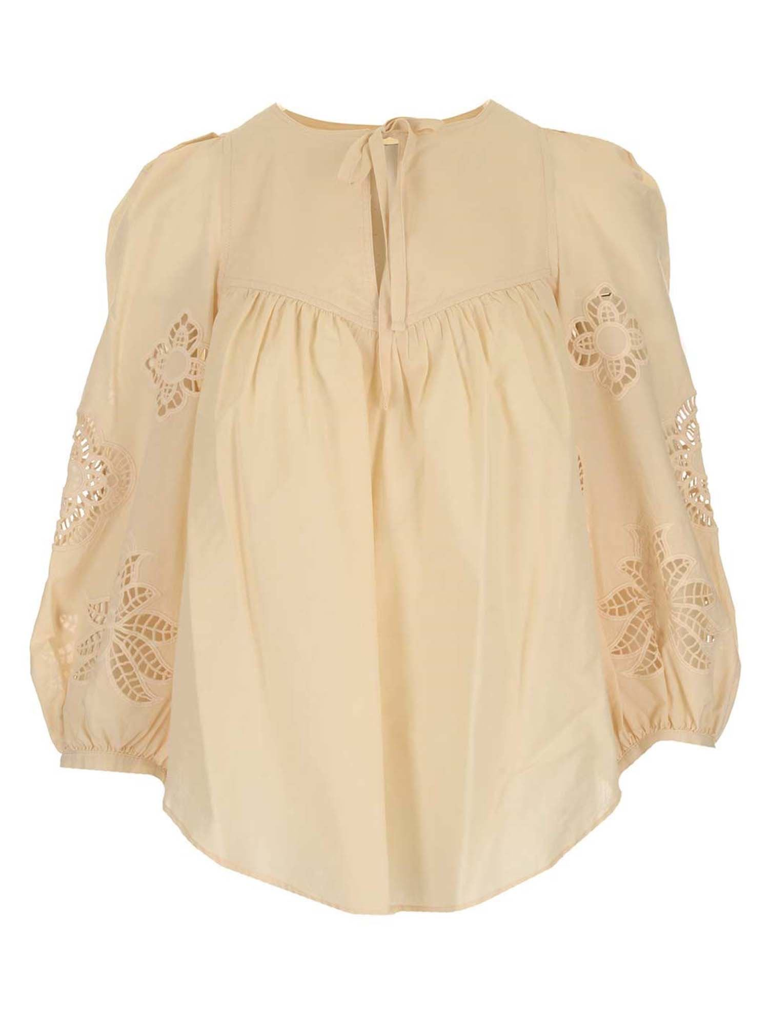 See By Chloé Cottons GUIPURE BLOUSE IN MACADAMIA BROWN COLOR