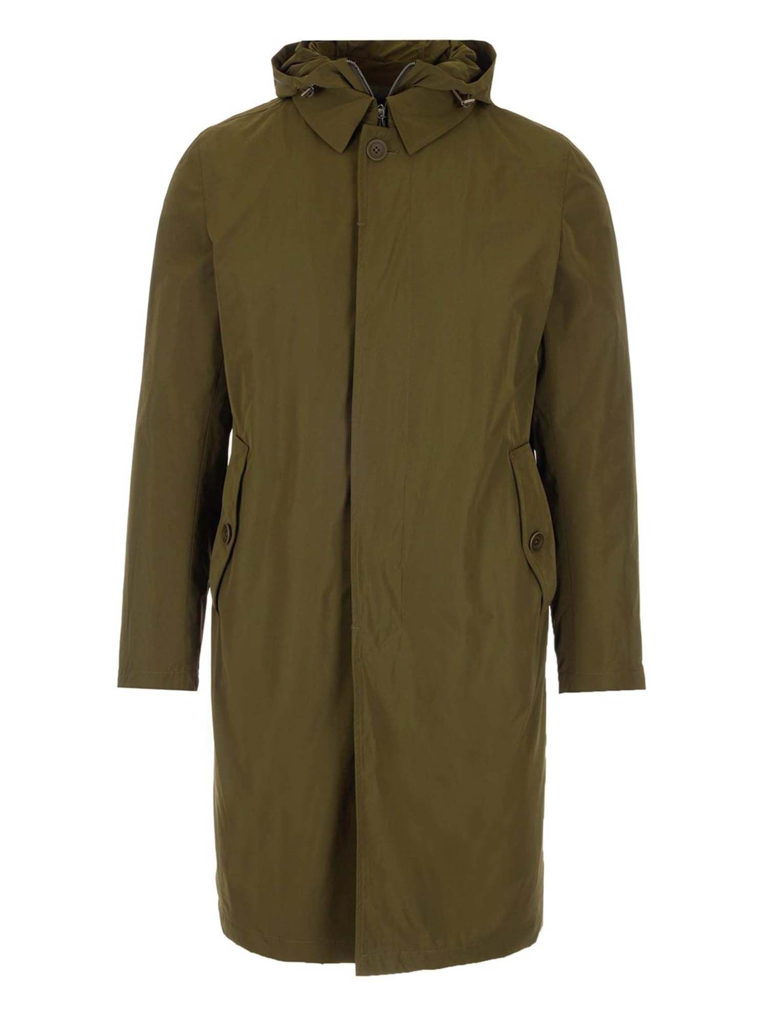 Herno Linings LONG RAINCOAT IN ARMY GREEN