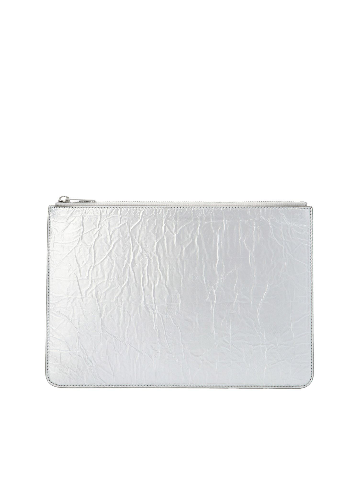 Maison Margiela Leathers 'STITCHING' CLUTCH IN SILVER COLOR