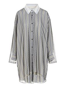 Maison Margiela - Striped and dotted shirt in white and blu