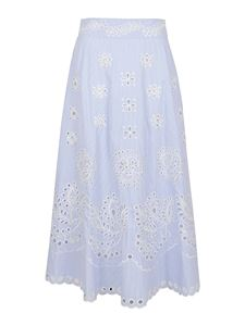 Red Valentino - Striped broiderie anglais skirt in light blue