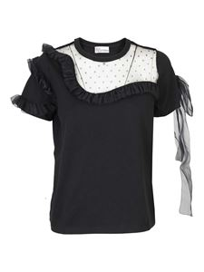 Red Valentino - Cotton T-shirt with tulle details in black