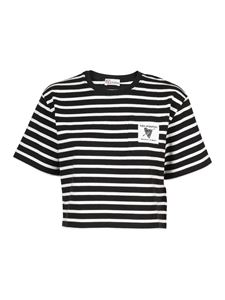 Red Valentino - Striped cropped T-shirt in black and white