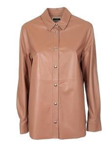 Peserico - Leather overshirt in brown